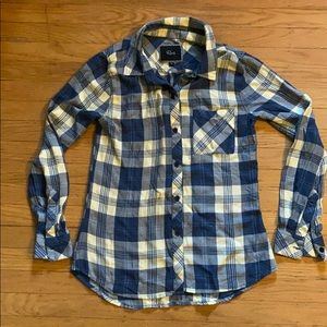 Rails long sleeve button down blue yellow small